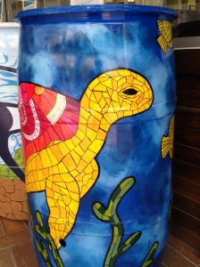 Painted rain barrel with turtle