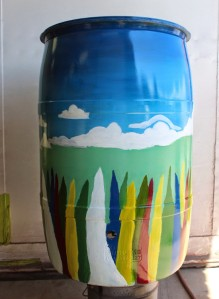 rain barrel with floral design