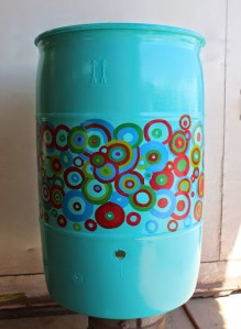 rain barrel with abstract design