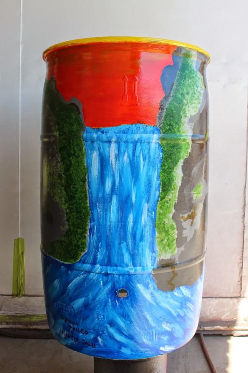 rain barrel with river design