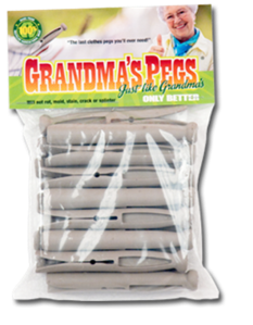 "Clothes pegs available from ""Grandma's Pegs"