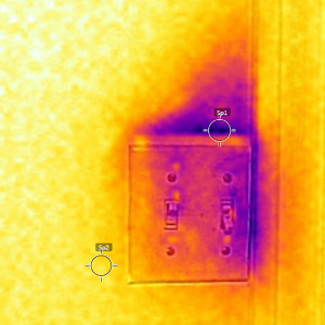 thermal image of leaky switchplate